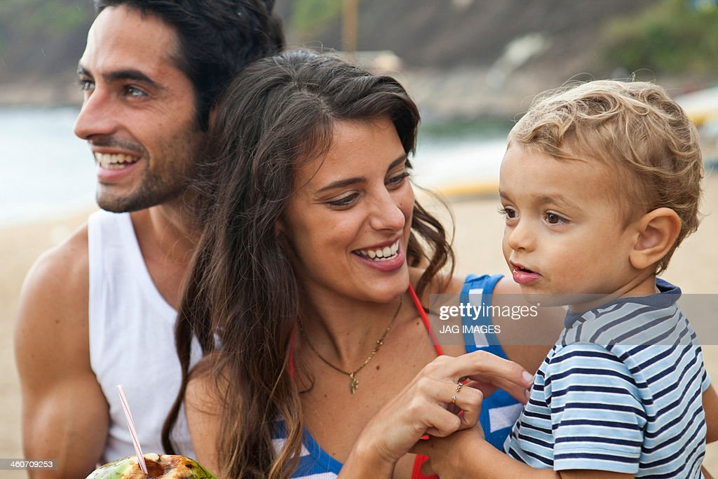 Parents with young son, close up