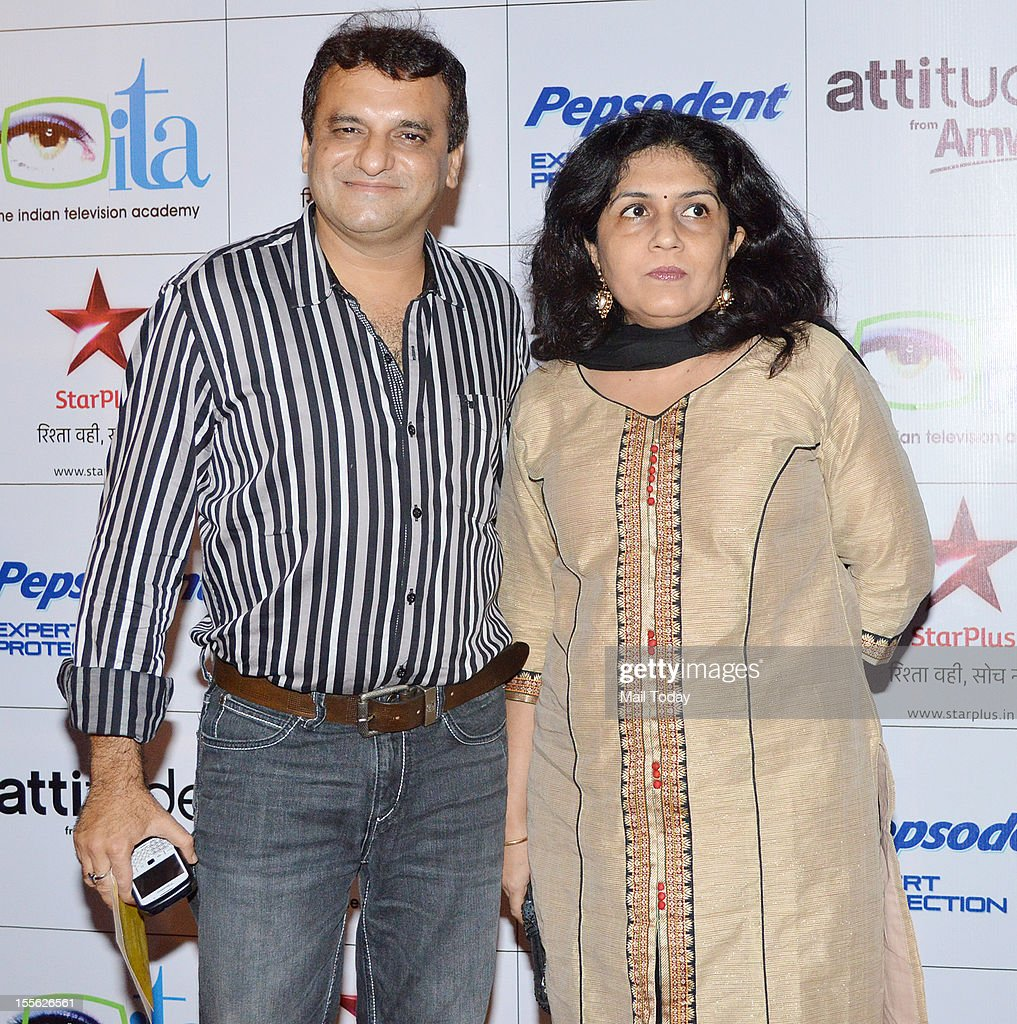 Paresh Ganatra with wife during Indian Television Academy Awards 2012 (ITA Awards), held in Mumbai on November 4, 2012.