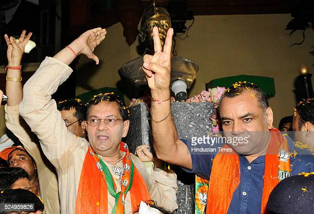Paresh Rawal with BJP candidate from Bhawanipore Chandra Bose during an election rally in front of Netaji Bhavan on April 26 2016 in Kolkata India As...