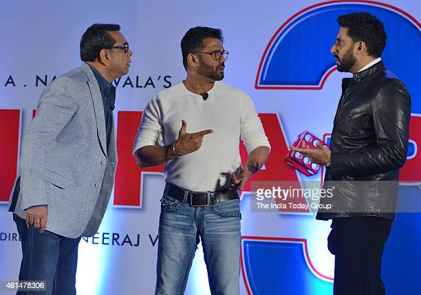 Paresh RawalSunil Shetty and Abhishek Bachchan at the announcement ceremony of Hera Pheri 3