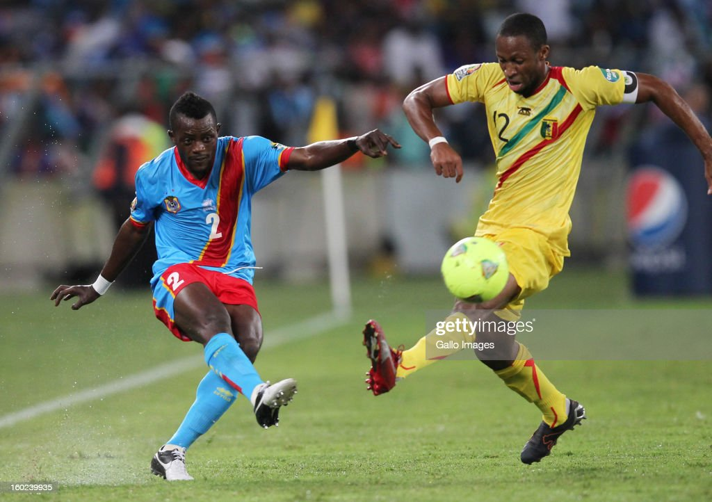 AFRICA - JANUARY 28, Parfait Mandanda of DR Congo and Syedou Keita of Mali during the 2013 Orange African Cup of Nations match between DR Congo and Mali from Moses Mabhida Stadium on January 28, 2013 in Durban, South Africa.