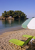 deck chairs on the beach, Parga, Greece