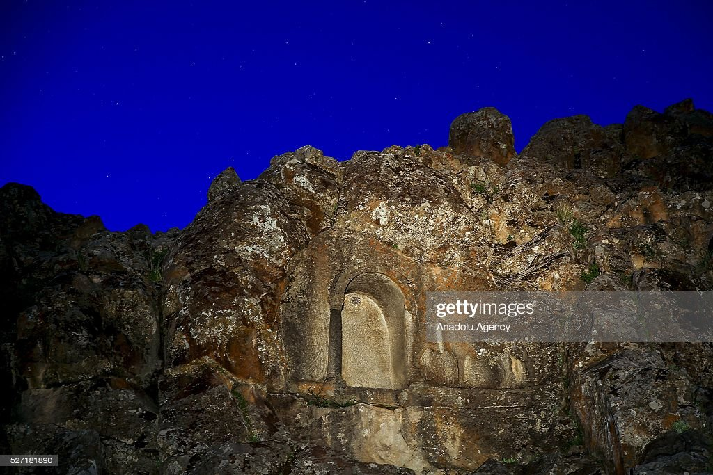 A pargetting horse is seen at Lukyanus monument, builded during the Roman - Pagan period, Beysehir district of Konya, Turkey on May 2, 2016.