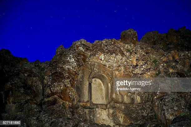 A pargetting horse is seen at Lukyanus monument builded during the Roman Pagan period Beysehir district of Konya Turkey on May 2 2016