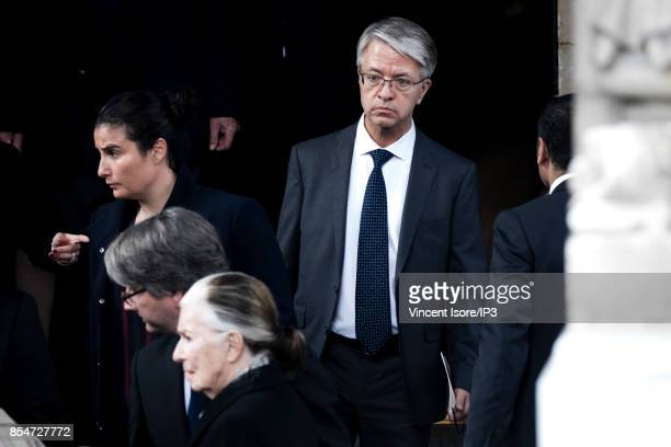 Paribas General Manager Jean Laurent Bonnafe attends the Liliane Bettencourt's funeral organized at the Saint Pierre Church on September 26 2017 in...