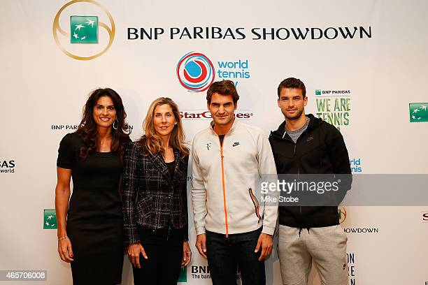 BNP Paribas Showdown players Gabriela Sabatiniat Monica Seles Roger Federer and Grigor Dimitrov pose for a photo following a press conference at...