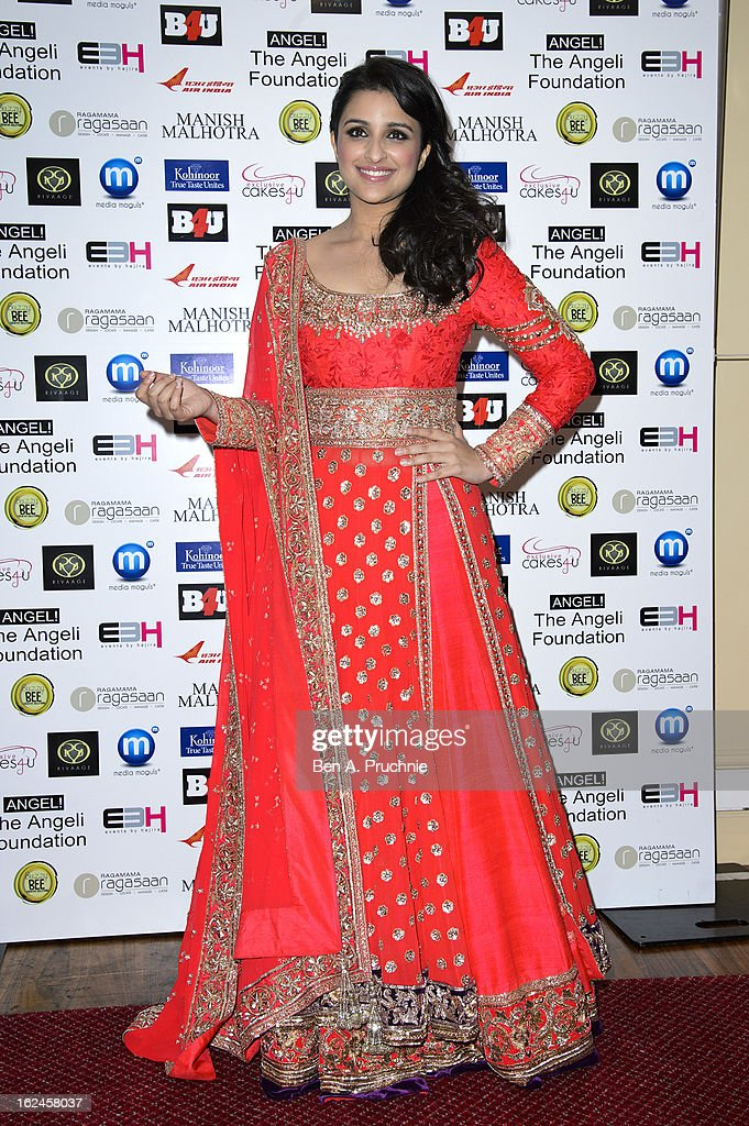 Parineeti Chopra attends a charity fundraising event hosted by Manish Malhotra in aid of 'Save the Girl Child' at The Grosvenor House Hotel on February 23, 2013 in London, England.