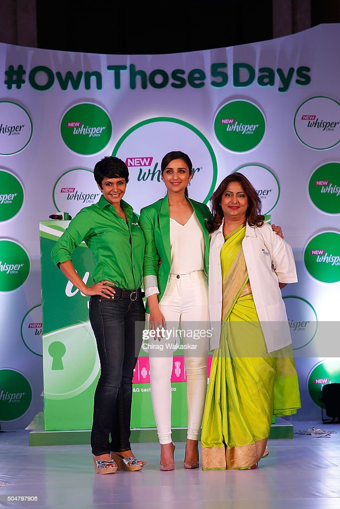 Parineeti Chopra (C) Mandira Bedi (L) & Nandita Palshetkar (R) attend the launch of New Whisper Ultra at St Regis Hotel on January 13, 2016 in Mumbai, India.