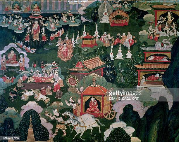 Parinirvana death cremation and distribution of relics roll showing scenes from Shakyamuni Buddha's life Tibet Tibetan Civilisation 18th century