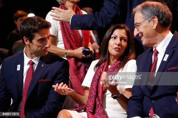 Paris 2024 Bid CoChair and 3time Olympic Champion Tony Estanguet Paris Mayor Anne Hidalgo and ComitŽ National Olympique et Sportif Franais President...