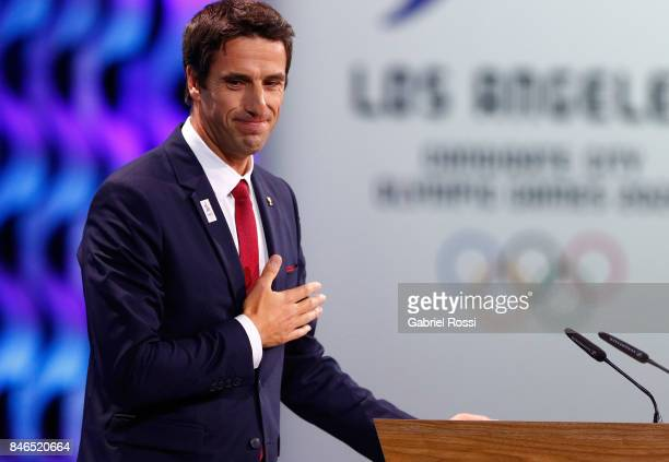 Paris 2024 Bid CoChair and 3time Olympic Champion Tony Estanguet during the 131th IOC Session 2024 2028 Olympics Hosts Announcement at Lima...
