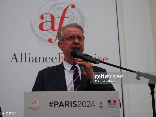 Paris 2024 Bid CoChair Bernard Lapasset gives a speech at the 130th session of the International Olympic Committee which is being held in Lima
