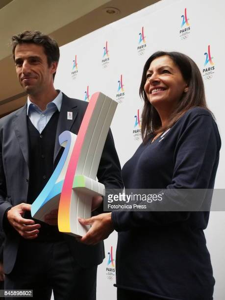 Paris 2024 Bid CoChair Tony Estanguet and Anne Hidalgo mayor of Paris giving a speech to support the candidacy of that city as the venue for the...