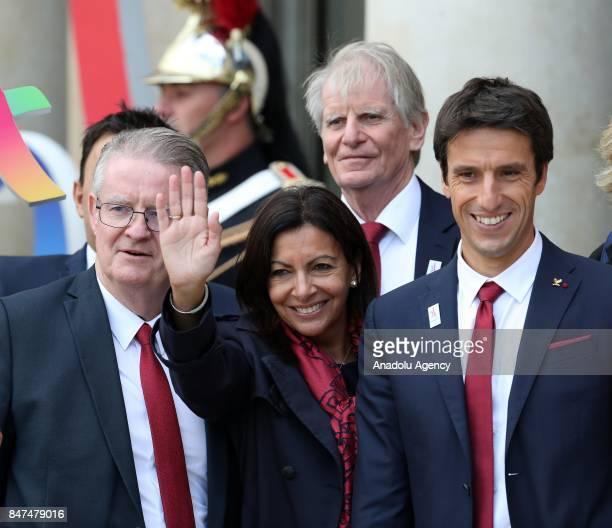 Paris 2024 delegation members Anne Hidalgo Tony Estanguet arrive for Paris 2024 Olympic City reception at Elysee Palace in Paris France on September...