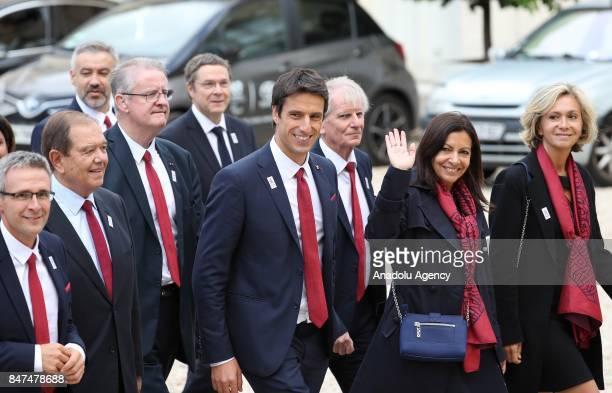 Paris 2024 delegation members Anne Hidalgo Tony Estanguet Valerie Pecresse arrive for Paris 2024 Olympic City reception at Elysee Palace in Paris...