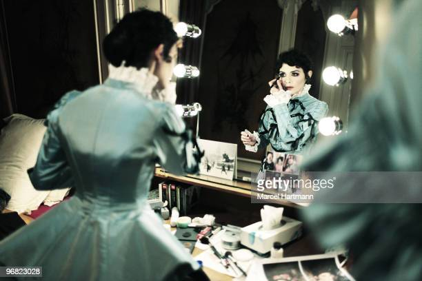 Actress Audrey Tautou poses at a portrait session for Self Assignment in Paris on February 6 2010 for rehearsal in Theater de la Madeleine with «Une...