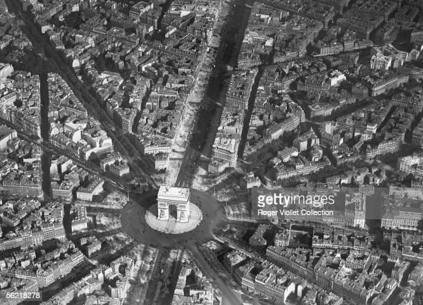Paris Aerial view of Arc de Triomphe