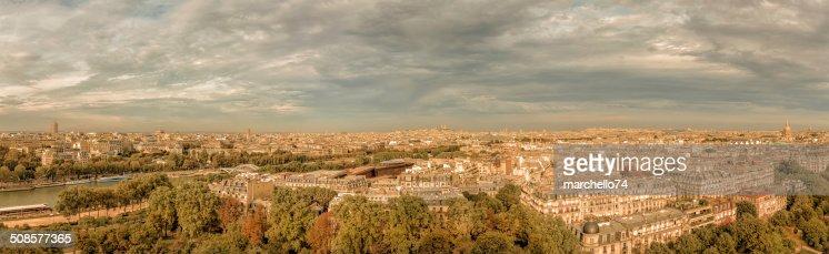 Paris aerial view panorama : Stock Photo