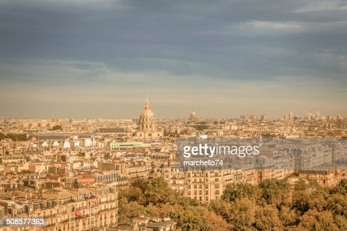 Paris aerial view : Stock Photo
