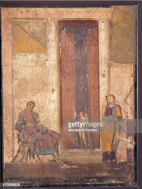 'Paris and Helen by unknown artist 2025 1st Century AD ripped fresco 101 x 130 cm Italy Campania Naples National Archaeological Museum Room LXX inv...