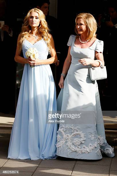 Paris and Kathy Hilton seen leaving Claridge's Hotel for Nicky Hilton's Wedding on July 10 2015 in London England Photo by Alex Huckle/GC Images
