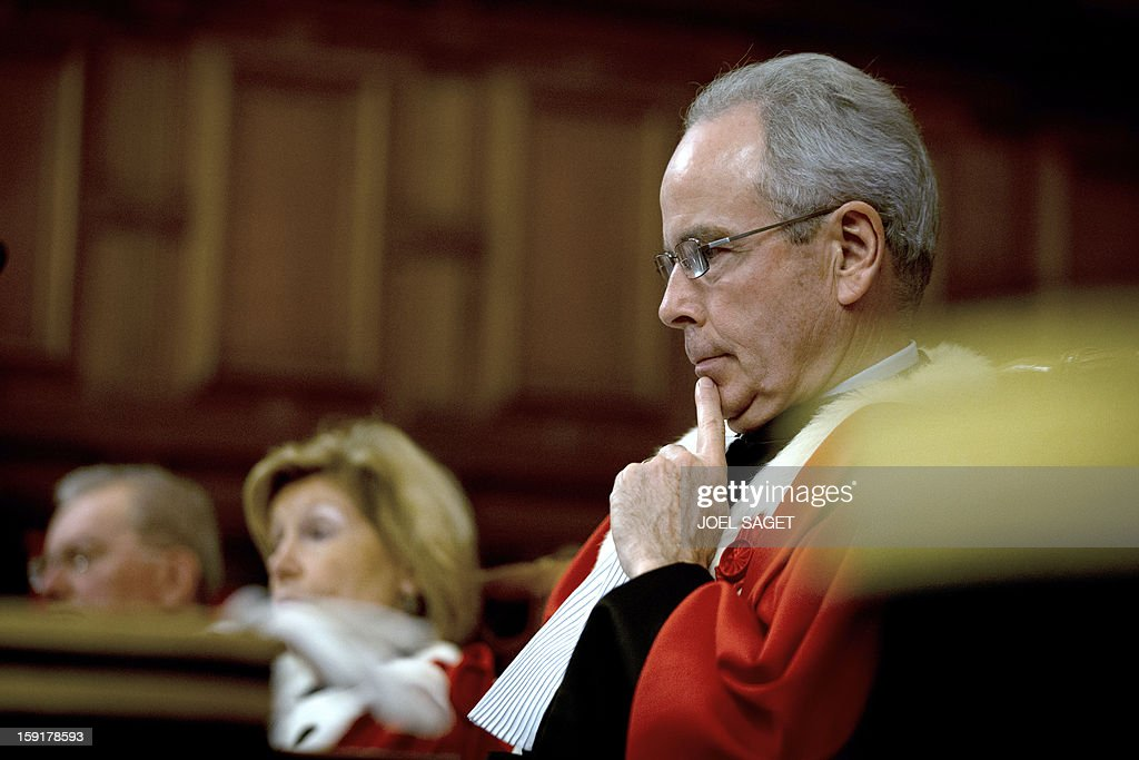 Paris' appeal court first president Jacques Degrandi takes part in a formal sitting of Paris' appeal court, on January 9, 2013, at the Palais de Jusctice in Paris, to mark the beginning of the Court's judicial year.