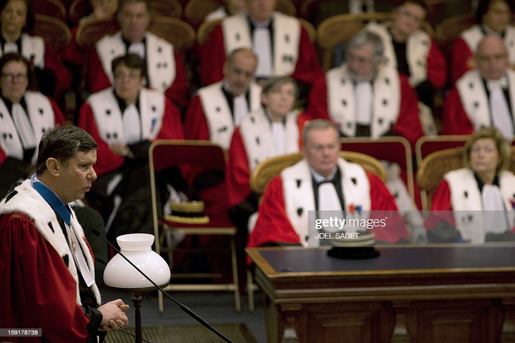Paris' appeal court prosecutor Francois Falletti (foreground) delivers a speech during a formal sitting of Paris' appeal court, on January 9, 2013, at Paris courthouse, to mark the beginning of the Court's judicial year.