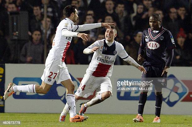 Paris' Argentinian midfielder Javier Pastore celebrates after scoring a goal during a French Ligue Cup football match between Bordeaux and Paris...