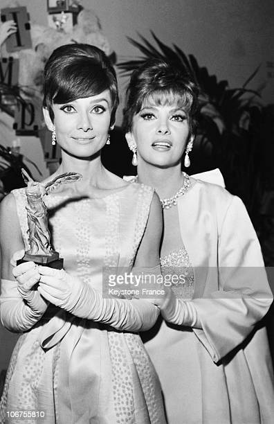Paris Audrey Hepburn And Gina Lollobrigida At Marigny Theatre October 29Th 1965