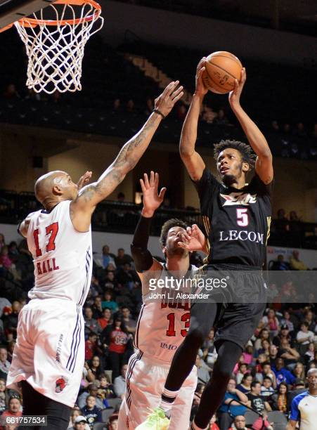 Paris Bass of the Erie BayHawks shoots the ball against the Windy City Bulls on March 28 2017 at the Sears Centre Arena in Hoffman Estates Illinois...