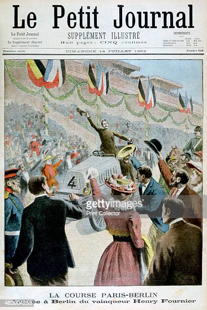 Paris Berlin Race Arrival of the winner Henry Fournier 1901 Illustration published in Le Petit Journal 14th July 1901