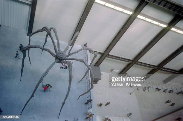 Paris born artist Louise Bourgeois's second display in the new Tate Modern in London entitled 'Maman' a giant female spider constructed in steel...