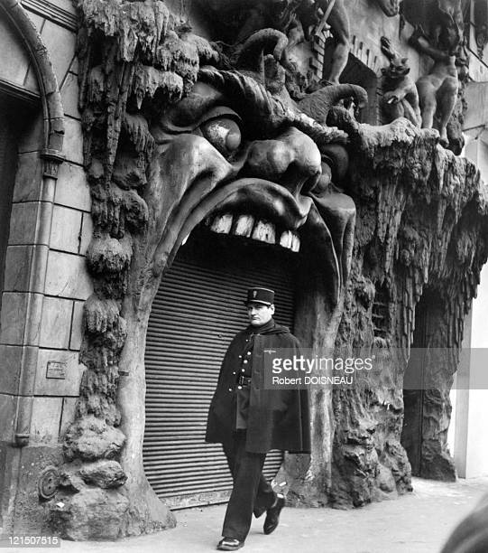 Paris Boulevard De Clichy Street Scene Policeman Walking Passing By The Door Of The Hell In 1952