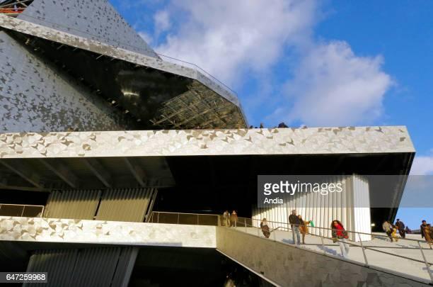 Paris Building site of La Philharmonie de Paris designed by architect Jean Nouvel and constructed by Bouygues city gate 'porte de la Villette' near...