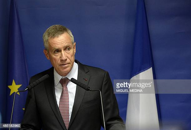 Paris chief prosecutor Francois Molins delivers a speech on August 25 2015 in Paris during a press conference concerning Ayoub ElKhazzani the suspect...