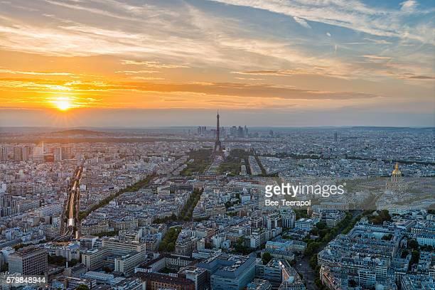Paris city at sunset