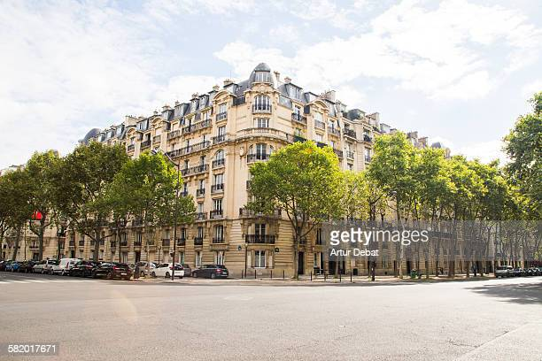 Paris city corner with residential building
