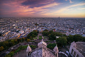 Paris city sunset view