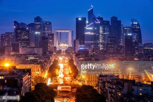 Paris City View with La Defense Financial District at Dusk