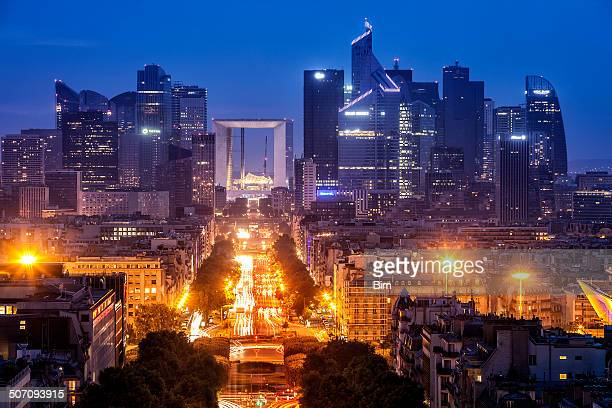 Paris City View with La Defense Financial District at Dusk