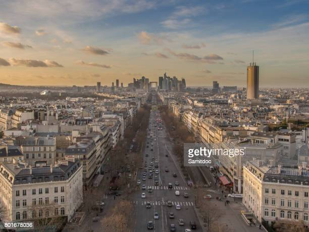 Paris cityscape at dusk. Aerial view of Paris and its famous monuments and sites in France