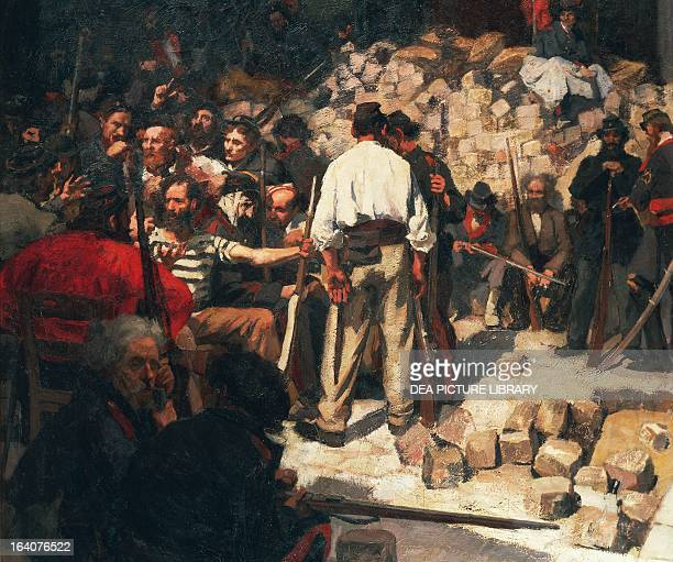 Paris Commune or Fourth French Revolution the barricade of May 1871 by Andre Devambez oil on canvas France Versailles Château De Versailles