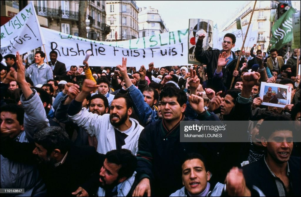 Paris demonstration against Salman Rushdie for his book 'The Satanic Verses' in Paris France in November 1989