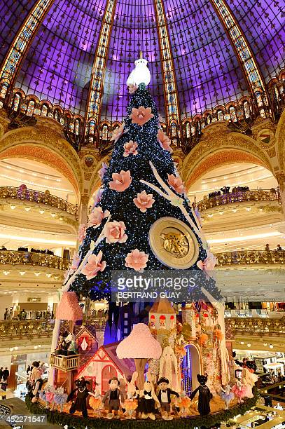 Paris' department store Galeries Lafayette's Christmas tree is pictured on November 27 2013 in Paris AFP PHOTO / BERTRAND GUAY
