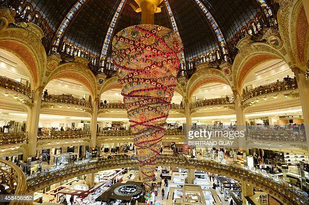 Paris' department store Galeries Lafayette's Christmas tree is pictured on November 05 2014 in Paris AFP PHOTO / BERTRAND GUAY