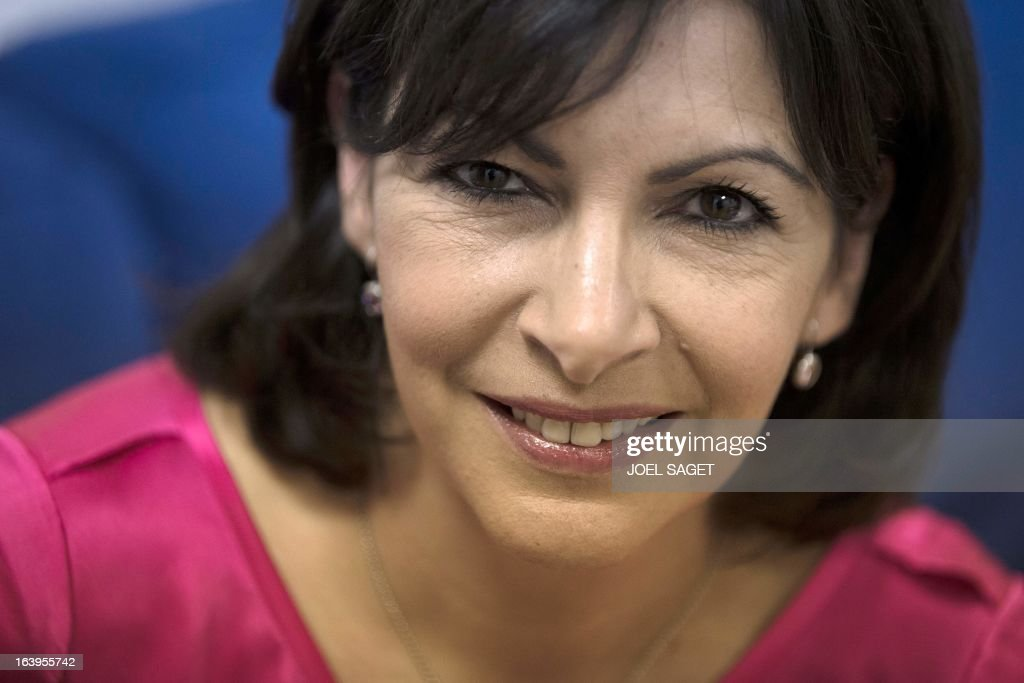 Paris Deputy Mayor and socialist party candidate in the 2014 municipal elections, Anne Hidalgo, poses before the TV show 'Grand Journal' broadcasted on the French channel Canal Plus in Paris on March, 2013.