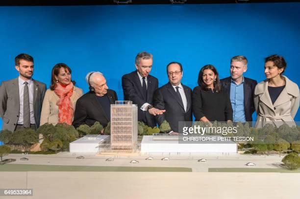 Paris deputy mayor Bruno Julliard French Minister for Ecology Sustainable Development and Energy Segolene Royal CanadianAmerican architect Frank...