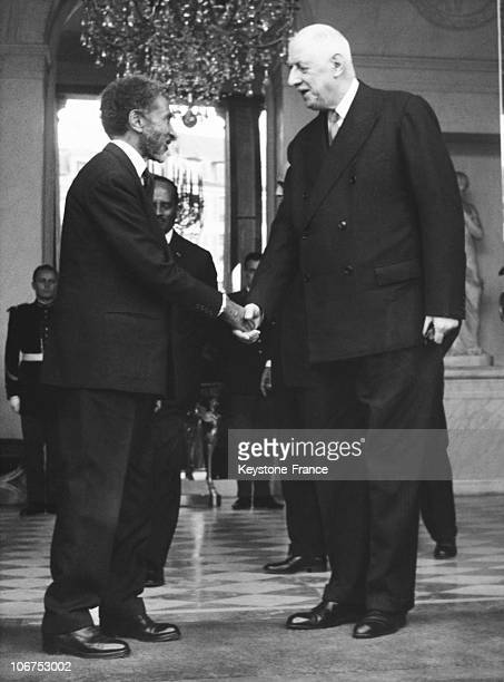 Paris Elysee Haile Selassie Emperor Of Ethiopia Received By The General The Gaulle In May 1967