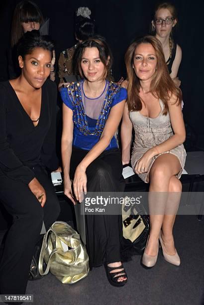 Audrey Chauveau Emilie Simon and Elsa Fayer attend the Basil Soda Front Row PARIS FRANCE JULY 03 Paris Fashion Week Haute Couture F/W 2013 at the...