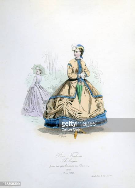 Paris Fashions at the time of the Second Empire 1864 from engraving by Hippolyte Pauquet from the petit Courrier des Dames The Second French Empire...